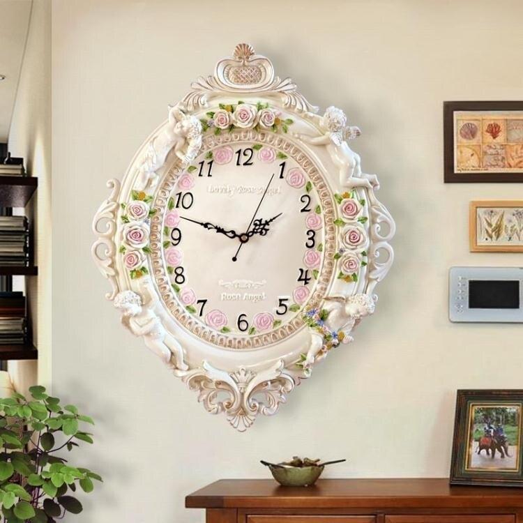 掛鐘歐式客廳創意時尚藝術裝飾掛鐘靜音臥室時鐘大掛鐘表天使石英鐘表全館折扣限時優惠