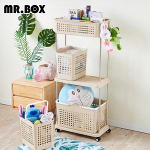 【Mr.box】熱銷洗衣分類收納籃-附輪(三層)