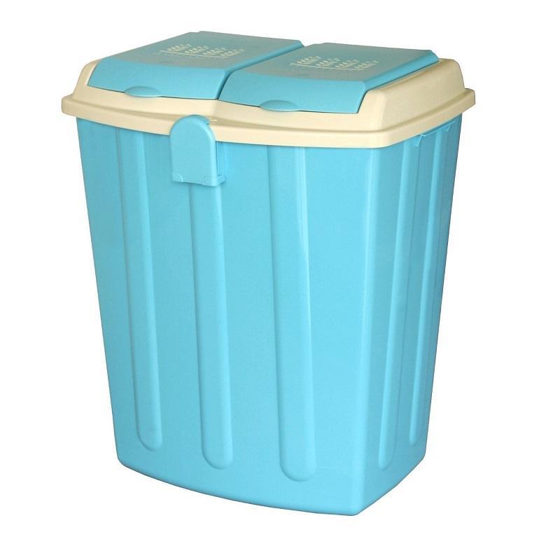 二分類掀蓋式垃圾桶75L - 四色 可可棕色