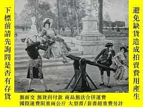 二手書博民逛書店【罕見】1890年木刻版畫《蹺蹺板》(Auf der Wippe