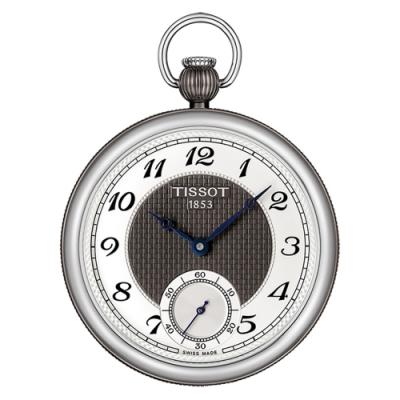 TISSOT 天梭 小秒針無蓋式機械懷錶(附鍊)-銀x黑/45mm T8604052903200