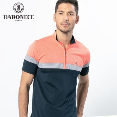 BARONECE 百諾禮士休閒商務  男裝 修身剪裁立領短袖POLO衫-橘藍色(1188285-38)
