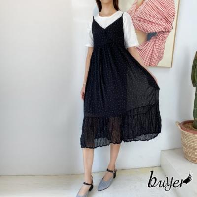 【白鵝buyer】日系經典水玉點點抓皺長版洋裝(黑色)