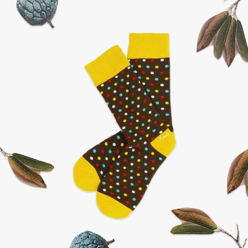四季襪 Polygiene®消臭抑菌襪 / 椰褐彩色點 / 男女適穿 22 - 26 cm