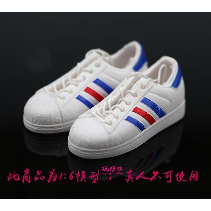 【玩模坊H-080】1/6 12吋 ( 白色 ) 潮流 時尚 板鞋 帆布鞋 可綁鞋帶 布鞋 鞋子 模型