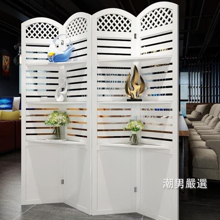 屏風折屏簡約現代臥室屏風隔斷玄關時尚客廳雕花折疊置物架田園屏風xw
