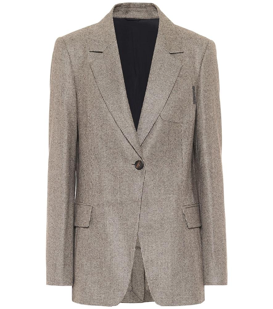 Houndstooth virgin wool blazer