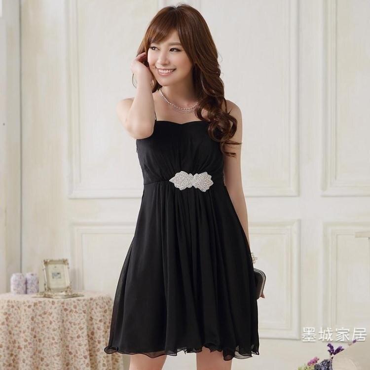 洋裝女人單肩舞會小洋裝 特大尺碼胖mm修身宴會晚禮服裙伴娘洋裝
