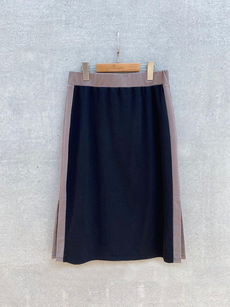 配色個性窄裙(黑)