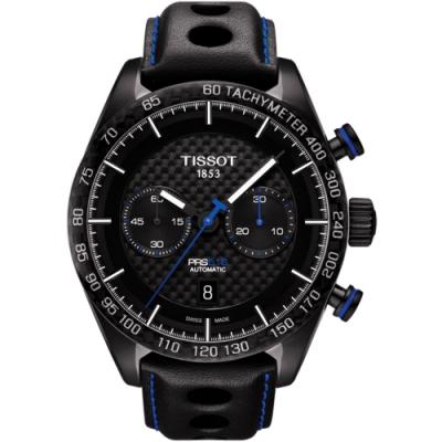 TISSOT PRS516 系列計時機械皮帶腕錶-黑x藍針/45mm T1004273620100