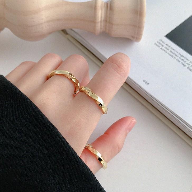 韓國時尚氣質莫比烏斯扭紋開口戒指 S925純銀INS冷淡風指環