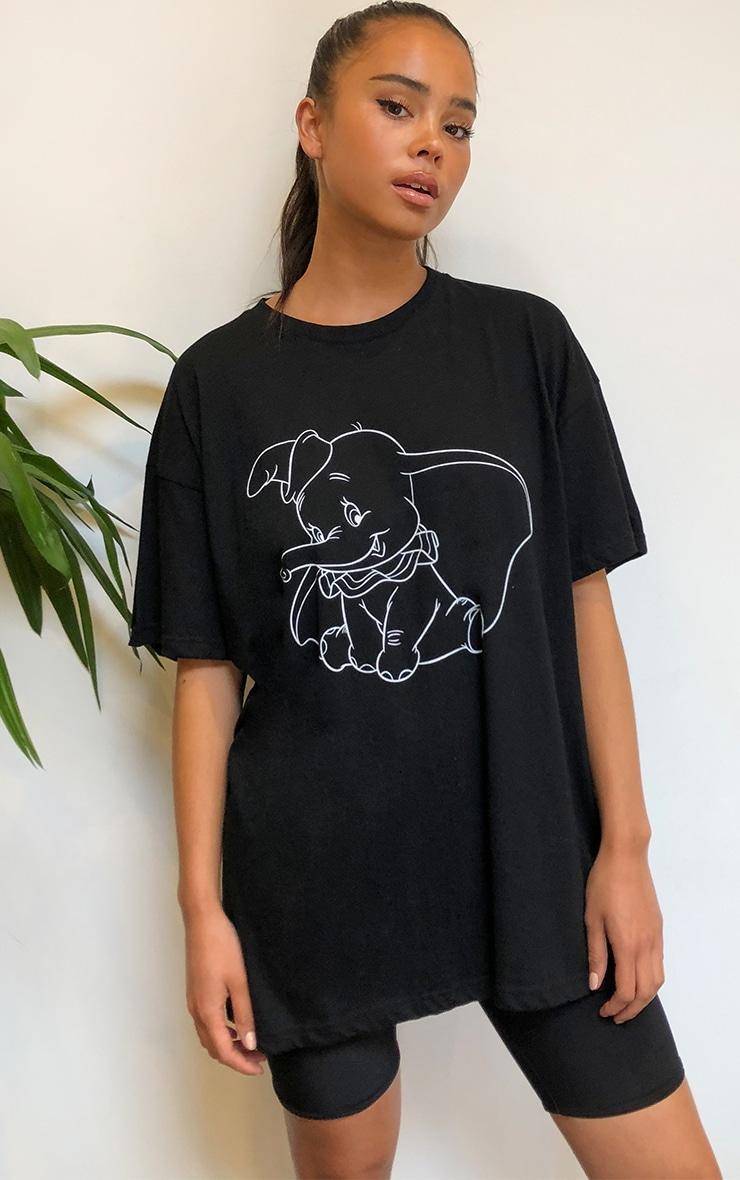 Black Disney Dumbo Printed T Shirt