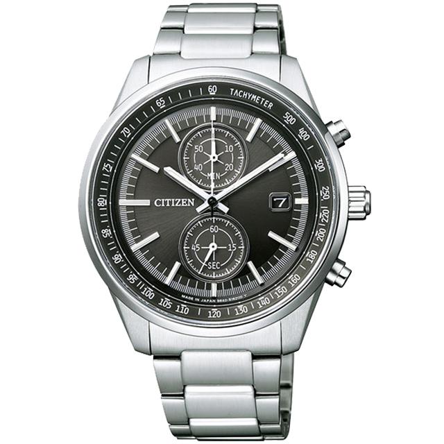 CITIZEN Eco-Drive 靜謐時光光動能雙眼鋼帶腕錶/黑(CA7030-97E)