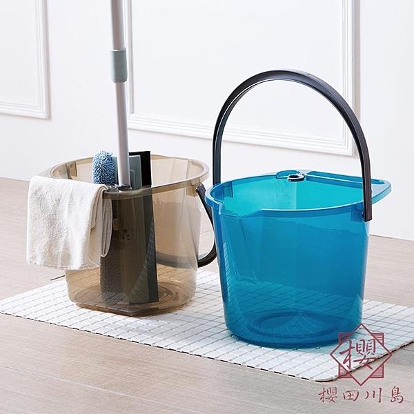 手提水桶家用拖把桶洗車桶子儲水桶洗衣桶塑膠桶【櫻田川島】