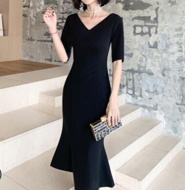 魚尾小晚禮服裙女2020新款氣質中長款小個子黑色高貴平時可穿宴會 全館免運 快速出貨