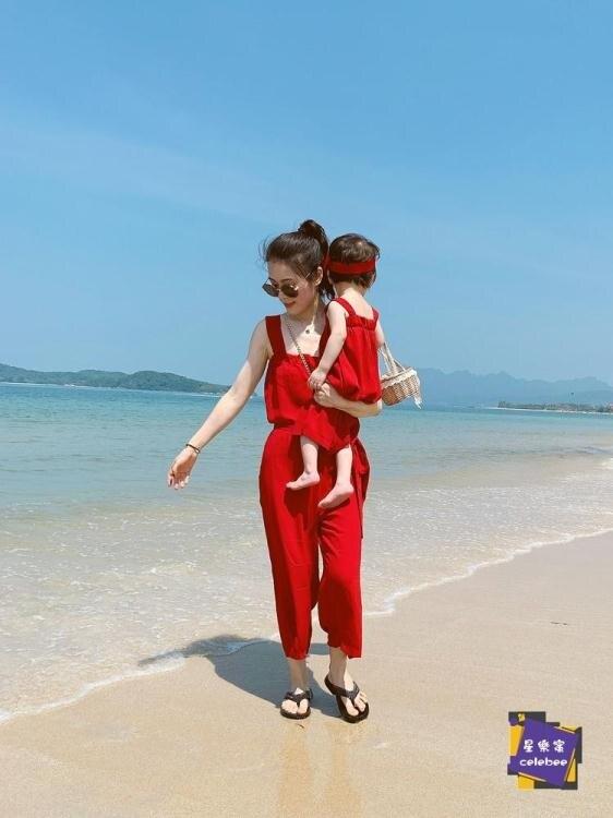 親子裝 母女裝度假背帶連體褲夏新款親子裝母女裝洋氣網紅抖音露背沙灘裙