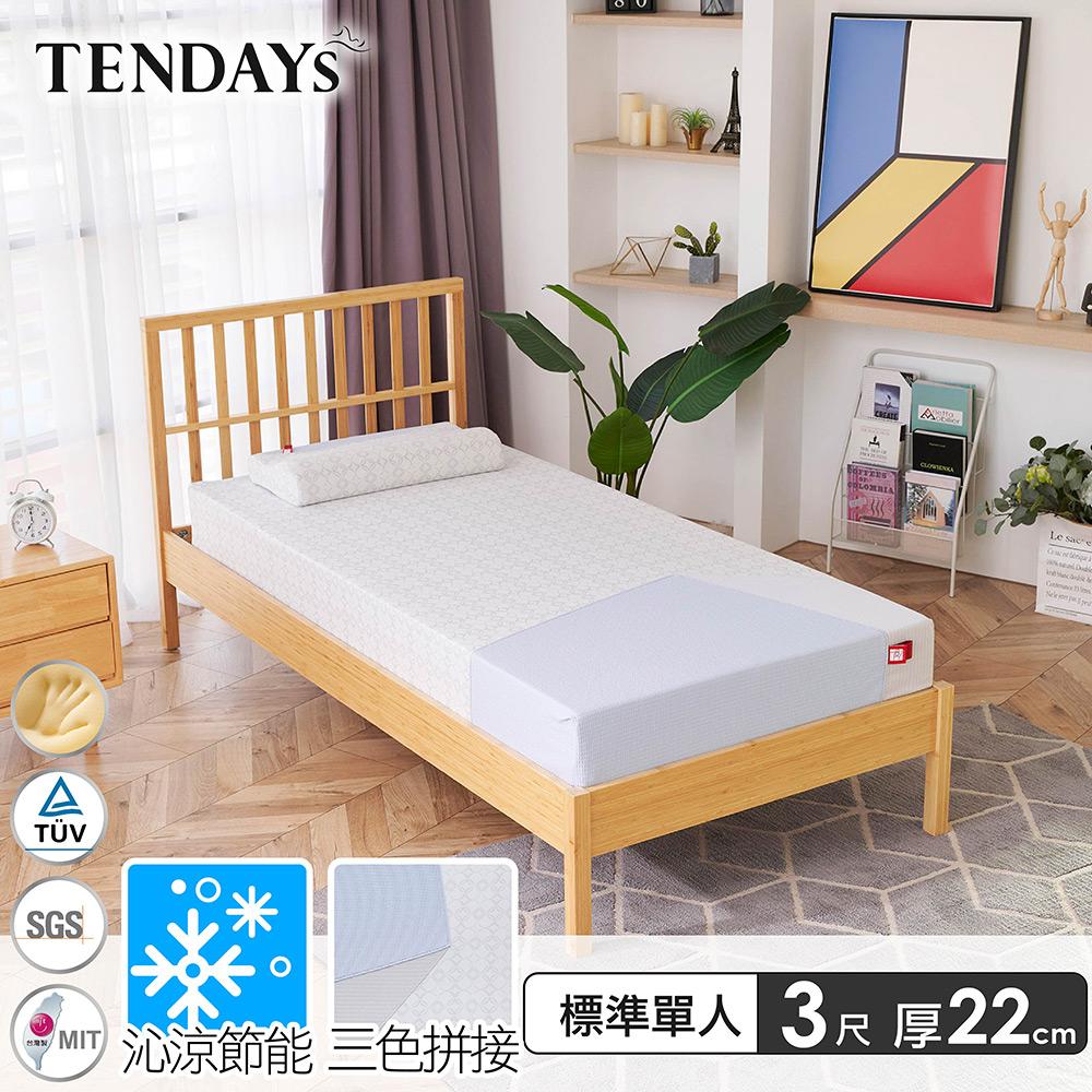 【TENDAYS】包浩斯紓壓床墊3尺標準單人(22cm厚 記憶床)-買床送枕