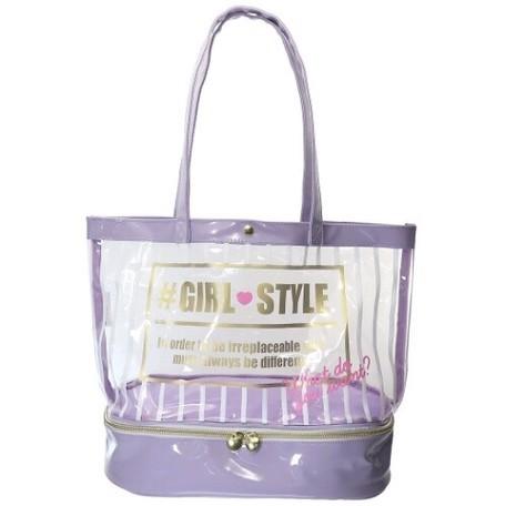 日本服飾代購 - 上下分層透明PVC肩背包-女孩風格-紫