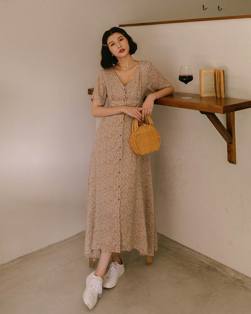Mercci22+印花排釦傘襬長洋裝