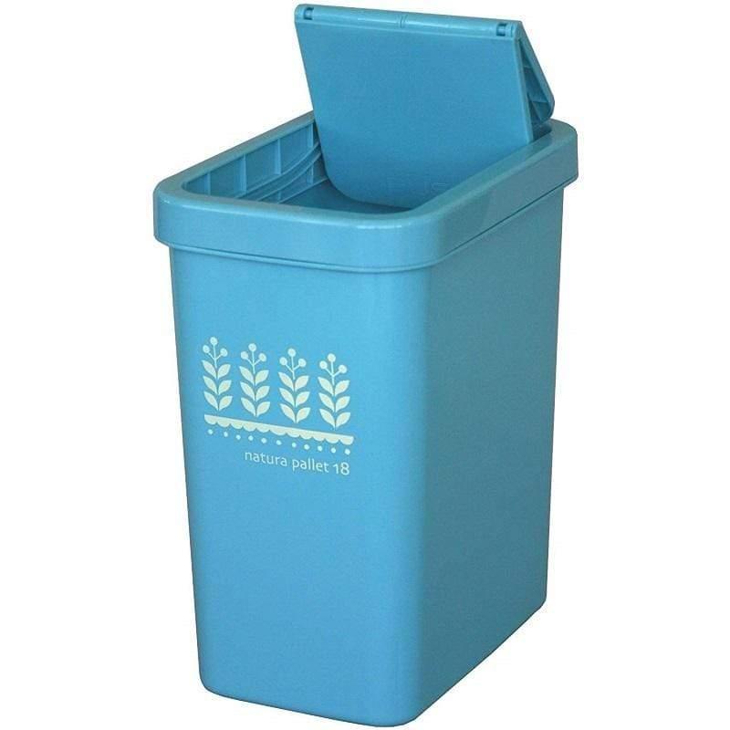 natura pallet 滑蓋式垃圾桶18L - 四色 水藍色