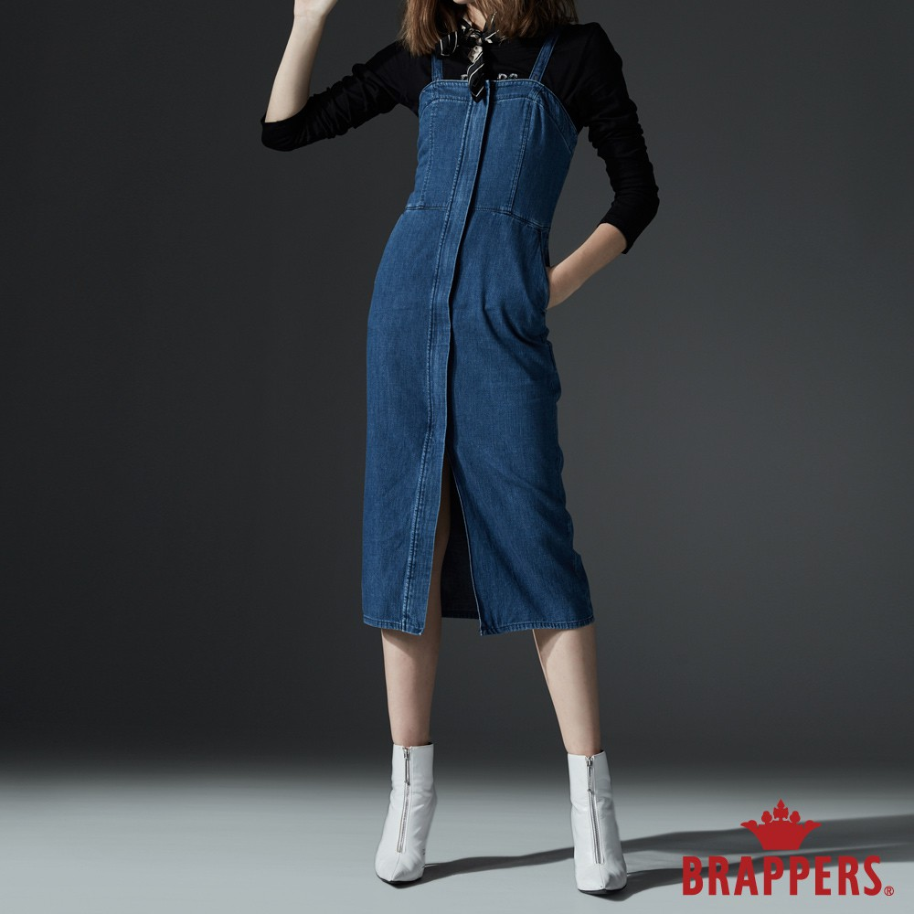 BRAPPERS 女款 Boy friend系列-腰身細肩吊帶裙-藍
