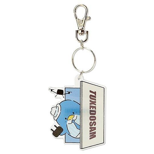 小禮堂 山姆企鵝 造型壓克力鑰匙圈 塑膠吊飾 掛飾 (藍 俏皮偵探) 4550337-43106