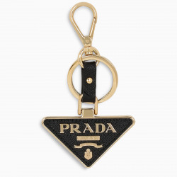 Prada Black/gold logo plaque keychain