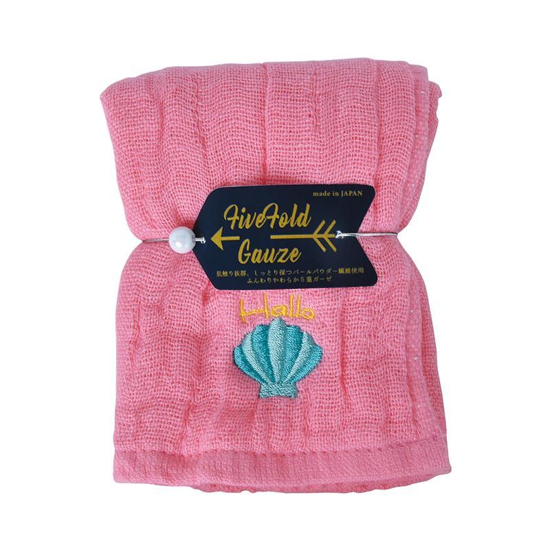 五重珍珠紗方巾(桃粉海貝-兩入組)