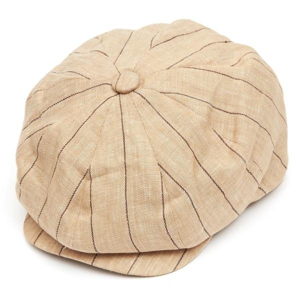 8 Piece Baker Boy Striped Linen Flat Cap - Stone-S-Stone