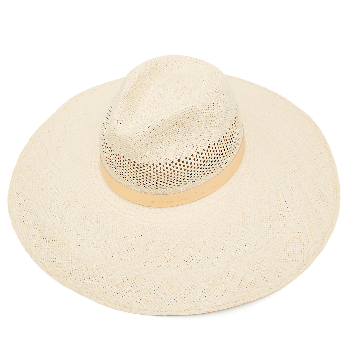 Freya Wide Brim Perforated Panama Hat with Rose Gold Leather - Stone in 56