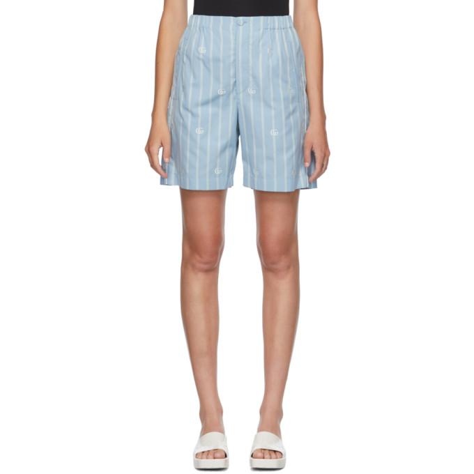 Gucci 蓝色 GG 条纹保龄球短裤