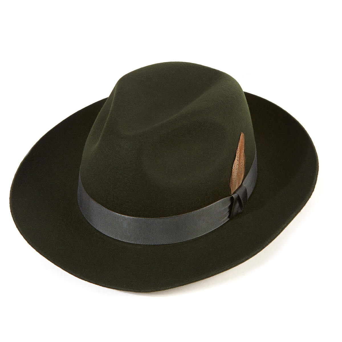 Grosvenor Wool Felt Trilby Hat - Moss in Size 59cm