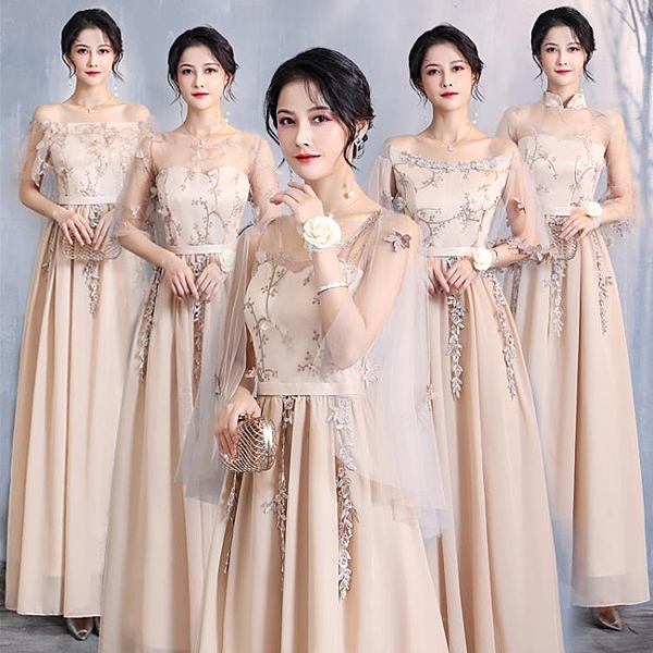 伴娘禮服 伴娘服2020新款春季氣質伴娘禮服女學生大碼姐妹團禮服裙高級質感