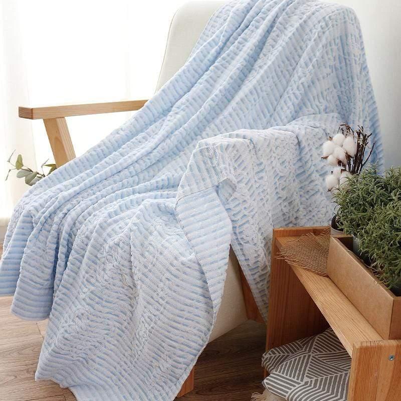 日本無撚毛巾夏毯_古瓷 深藍