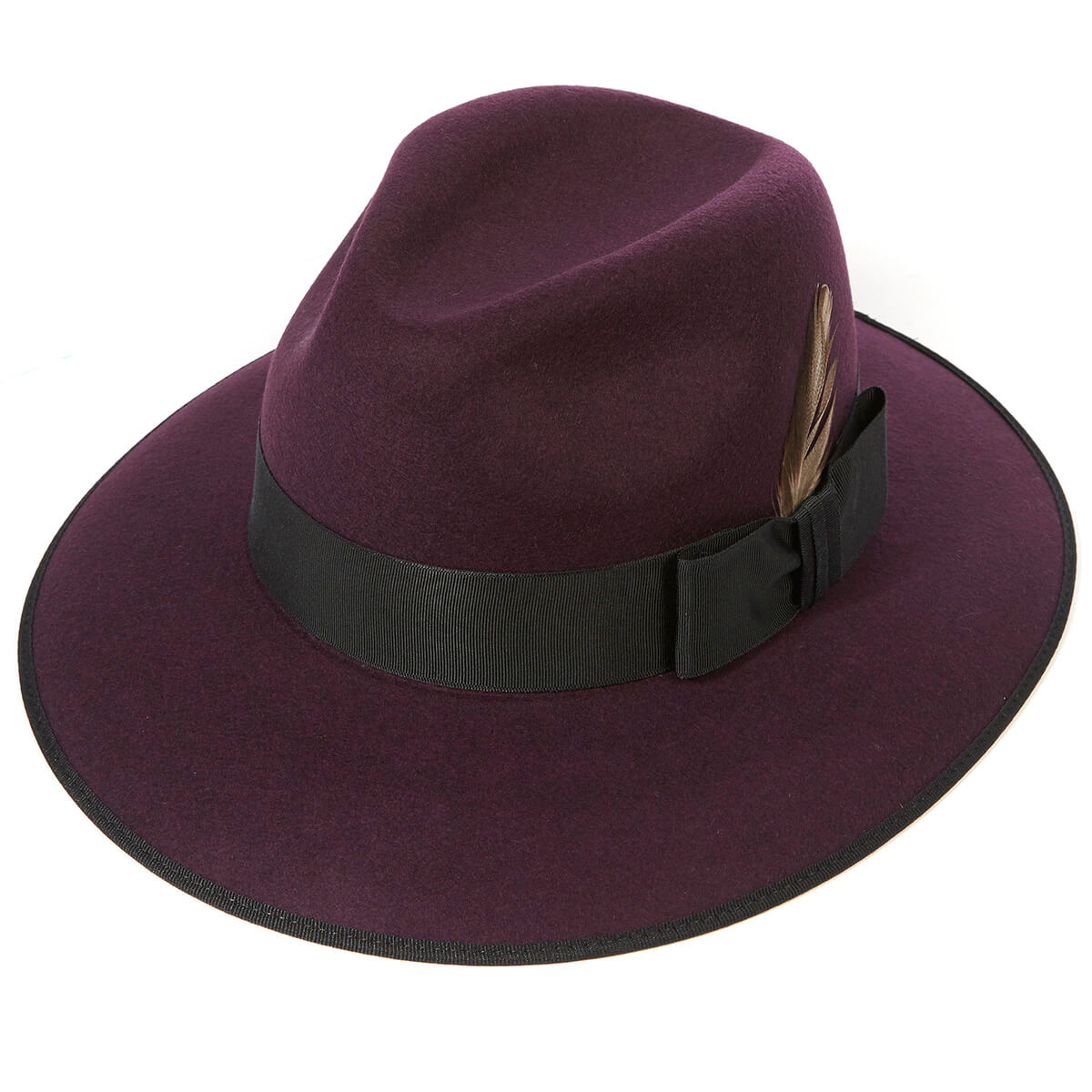 Madison Wool Felt Trilby Hat - Berry in Size 57cm
