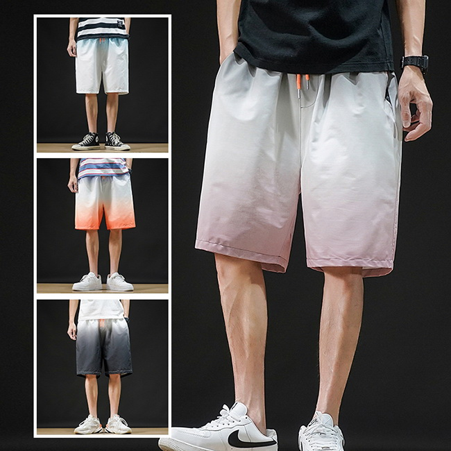 FOFU-五分褲沙灘度假漸變寬鬆運動休閒五分褲短褲【08B-G0972】