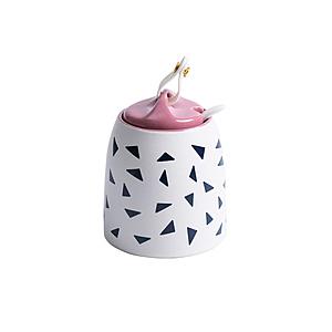 陶瓷幾何造型廚房調味罐-白