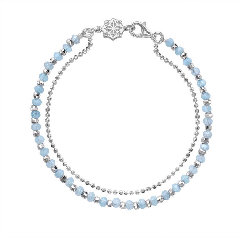 Aquamarine Faceted Bead Orissa Bracelet