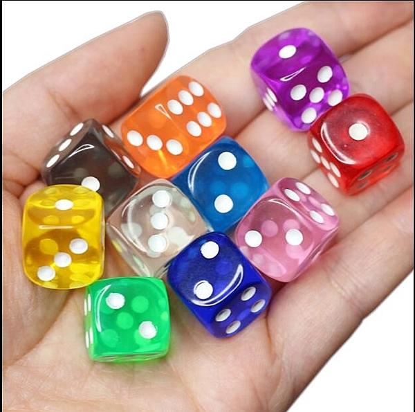 點數彩色透明骰子 20顆