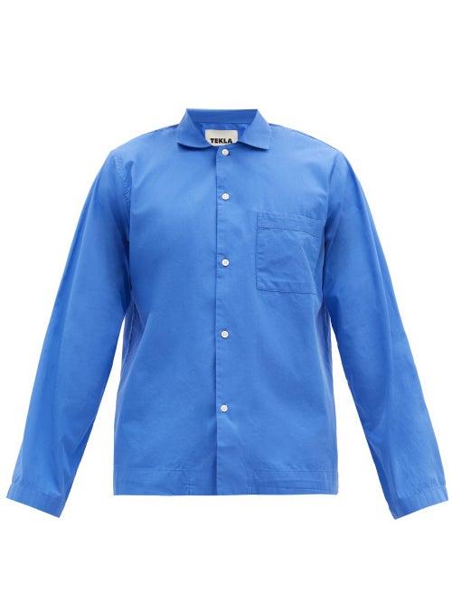 Tekla - Patch-pocket Organic-cotton Pyjama Shirt - Mens - Blue