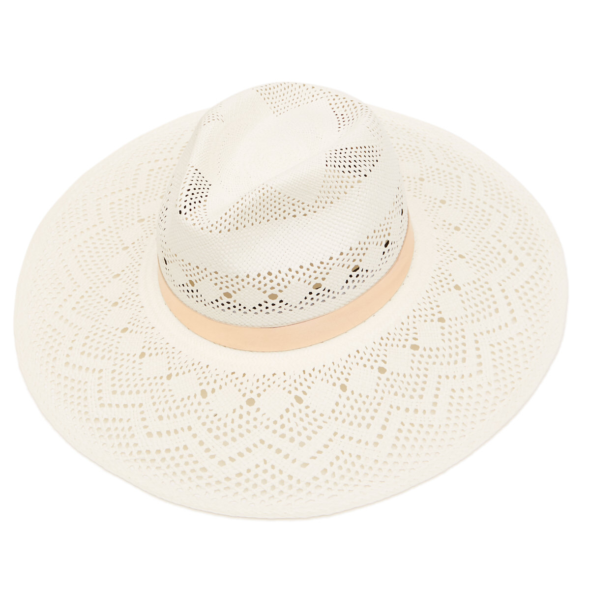 Lottie Wide Brim Panama Hat with Rose Gold Leather Band - Bleached