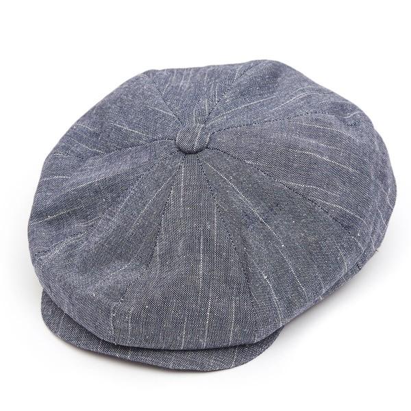 8 Piece Linen Mix Flat Cap - Navy in L