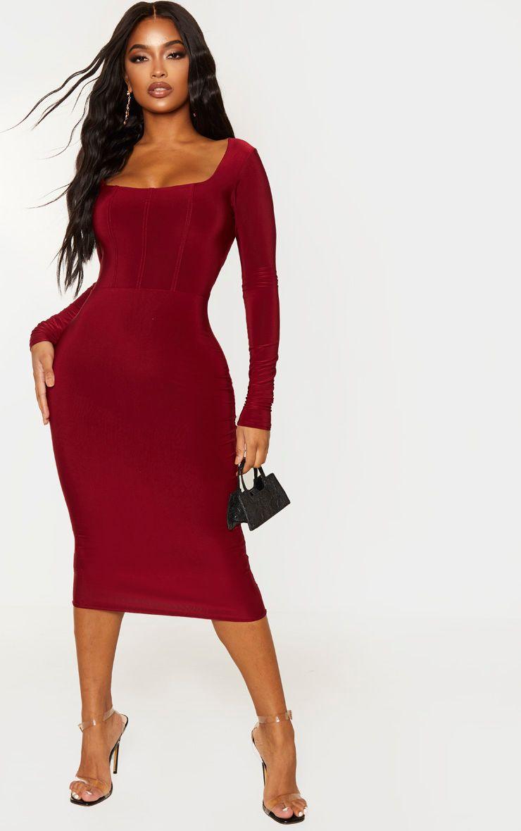 Shape Burgundy Slinky Panelled Long Sleeve Midi Dress