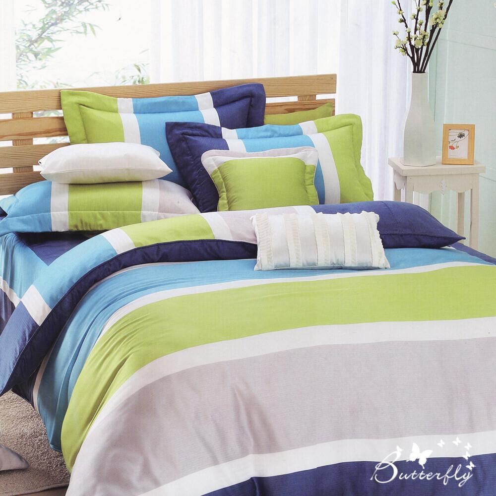 butterfly-條紋純棉薄被套-平凡線-藍(4.5x6.5)