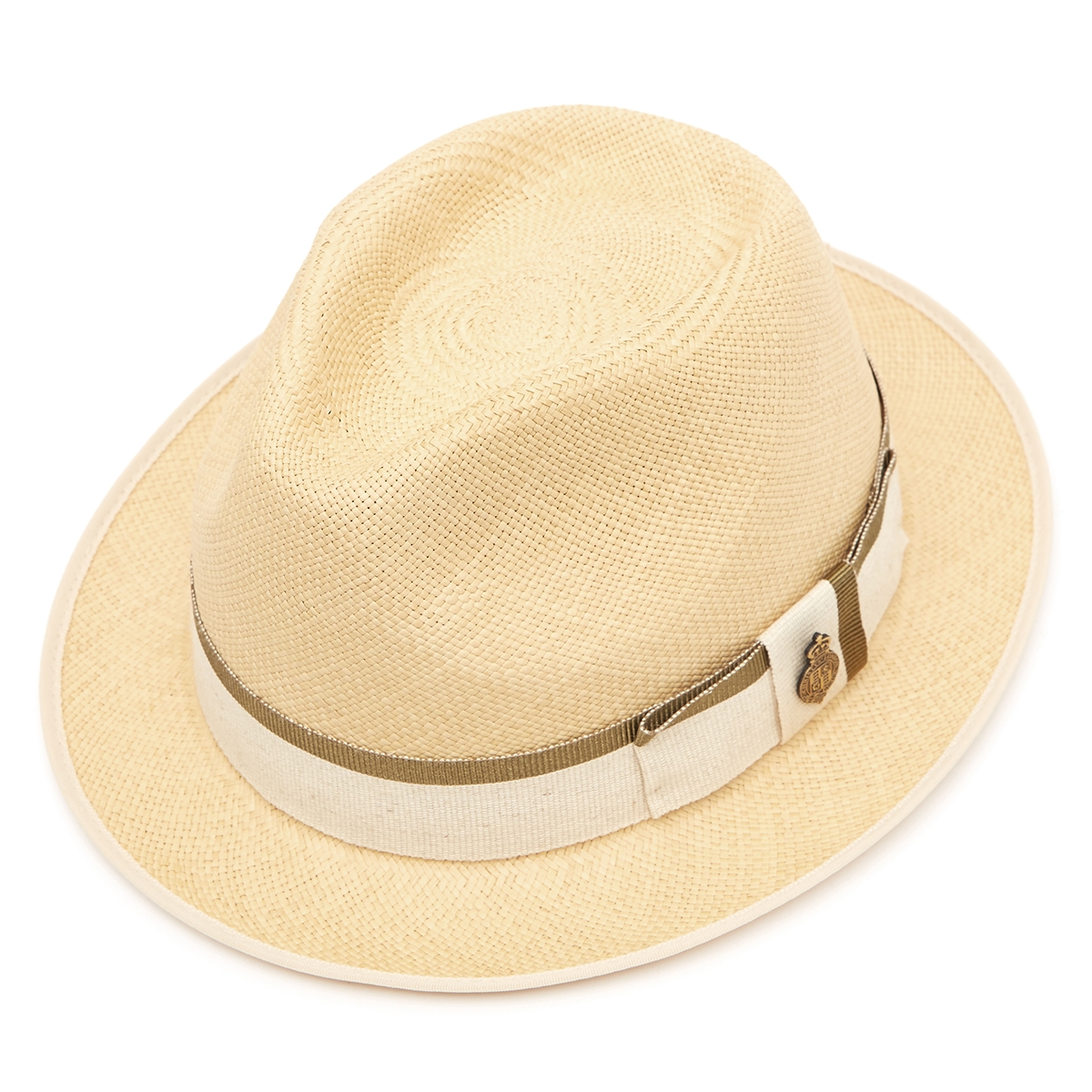 Classic Yorkie Panama Hat with Grey Zoe ribbon - Natural in 55