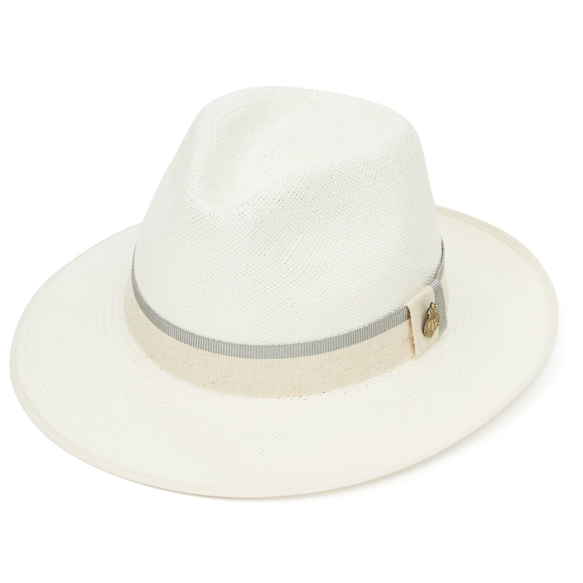 Classic Down Brim Panama Hat with Grey Zoe Band - Bleached in 60