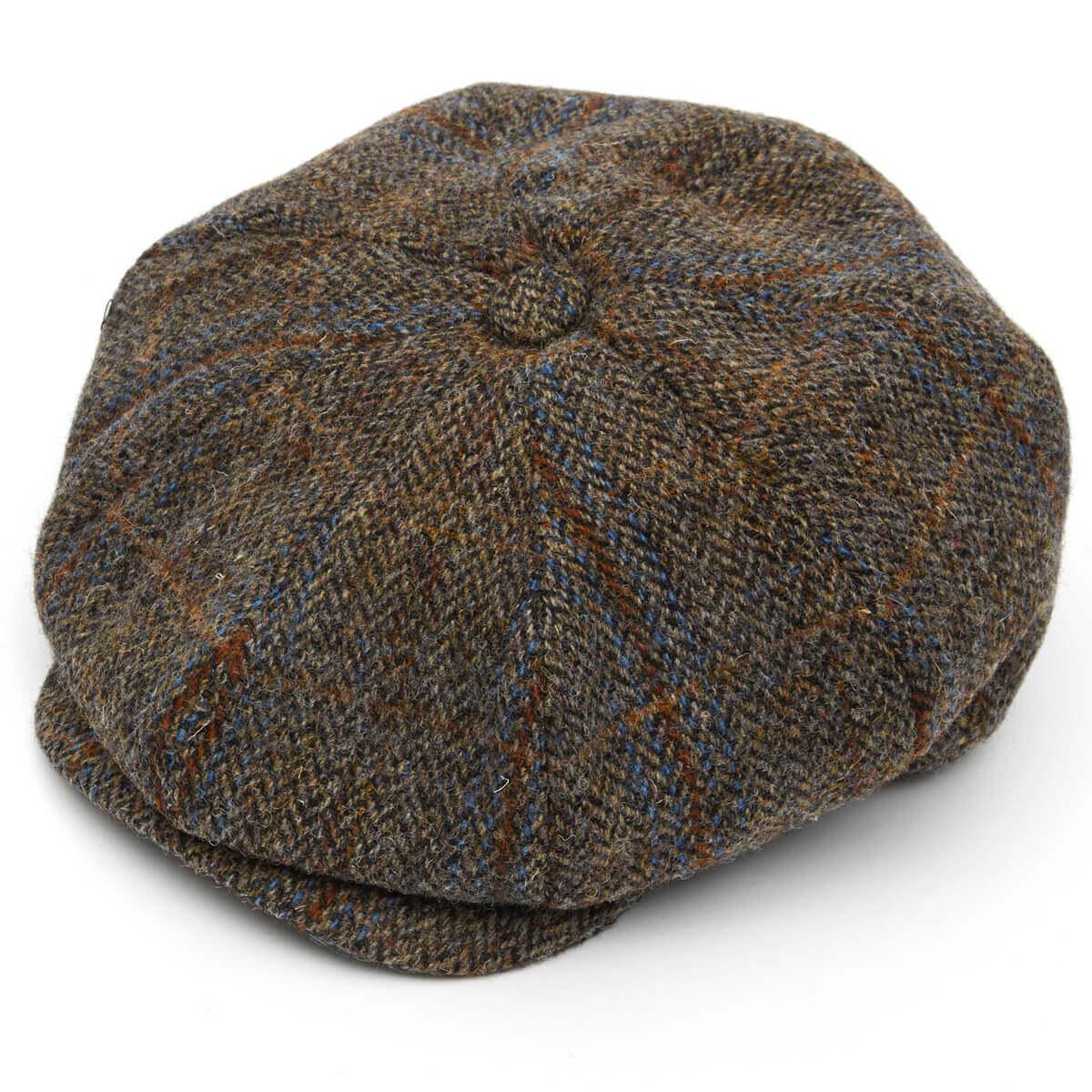 Harris Tweed 8 Piece Baker Boy Flat Cap -L005-XL