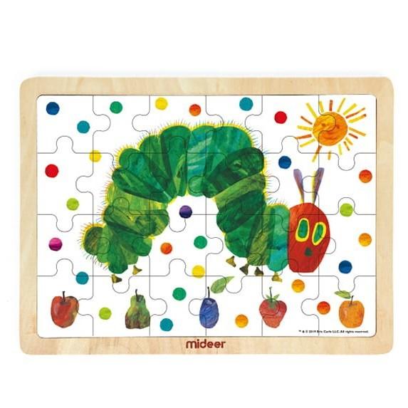 【MiDeer艾瑞卡爾聯名】木質拼圖(24片)-好餓的毛毛蟲