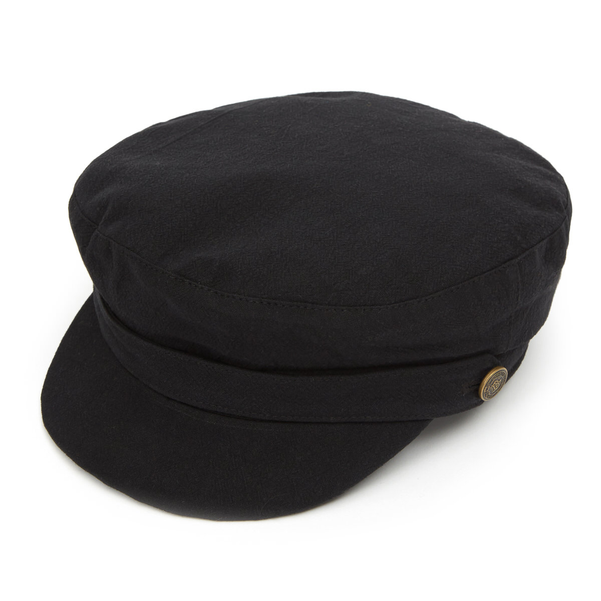 Breton Heavy Linen Cap - Black in XL