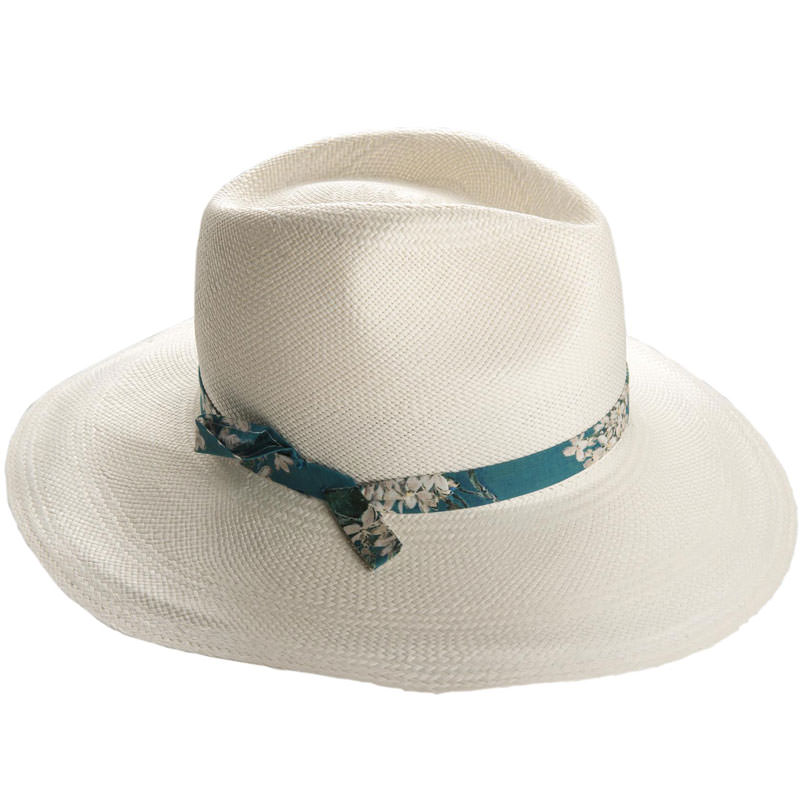 Jessica Wide Brim Panama - Bleached - WHIT in size 57